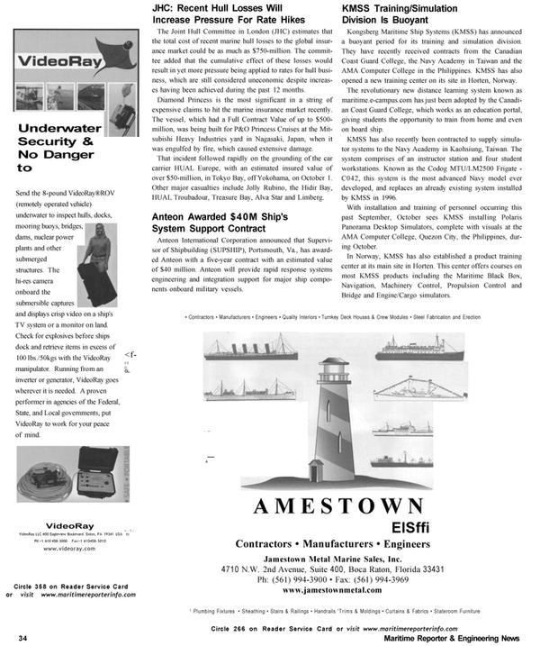 Maritime Reporter Magazine, page 34,  Nov 2002 Florida