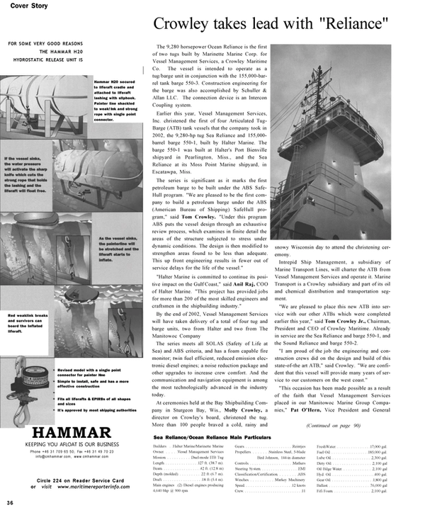 Maritime Reporter Magazine, page 36,  Nov 2002 Wisconsin