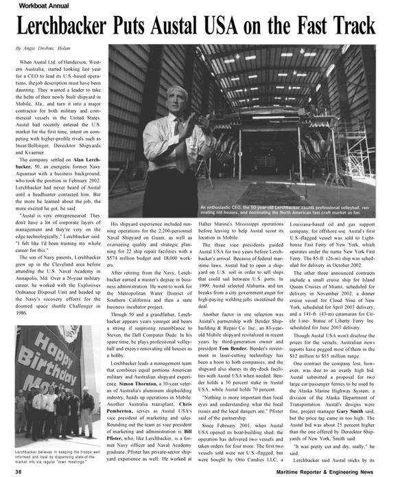 Maritime Reporter Magazine, page 38,  Nov 2002 Louisiana