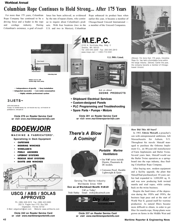 Maritime Reporter Magazine, page 42,  Nov 2002 New York