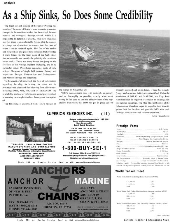 Maritime Reporter Magazine, page 8,  Dec 2002 Greg Trauthwein