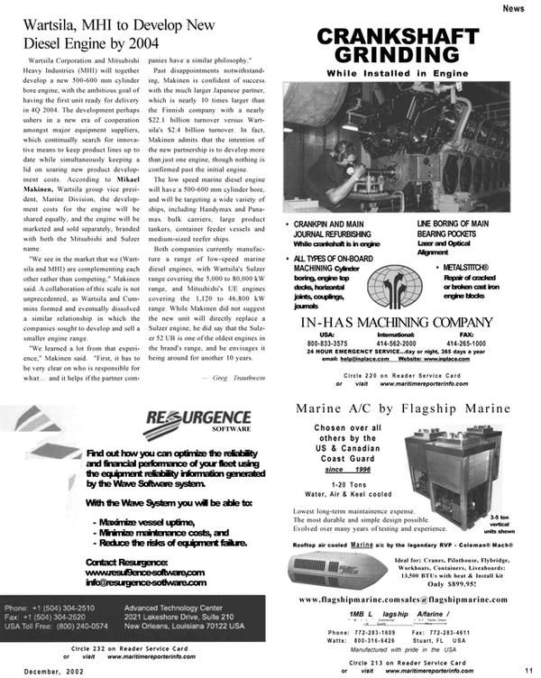 Maritime Reporter Magazine, page 11,  Dec 2002