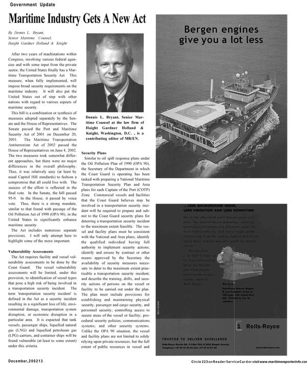 Maritime Reporter Magazine, page 13,  Dec 2002 Congress