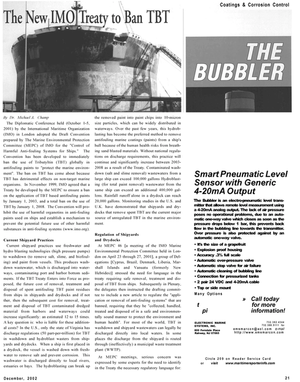 Maritime Reporter Magazine, page 21,  Dec 2002 New Jersey
