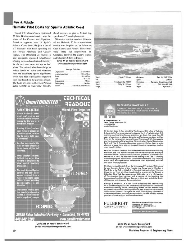 Maritime Reporter Magazine, page 10,  Jan 2003 Colorado