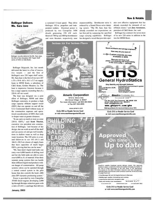 Maritime Reporter Magazine, page 11,  Jan 2003