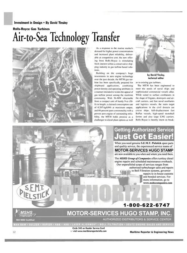 Maritime Reporter Magazine, page 12,  Jan 2003 aero engine technology