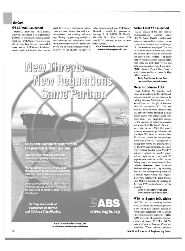 Maritime Reporter Magazine, page 18,  Jan 2003 GSM