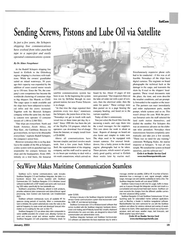Maritime Reporter Magazine, page 19,  Jan 2003 Internet technology