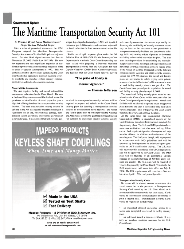 Maritime Reporter Magazine, page 20,  Jan 2003