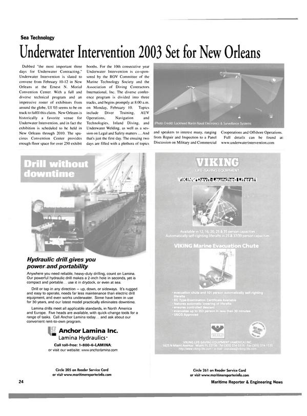 Maritime Reporter Magazine, page 24,  Jan 2003 Marine Technology Society