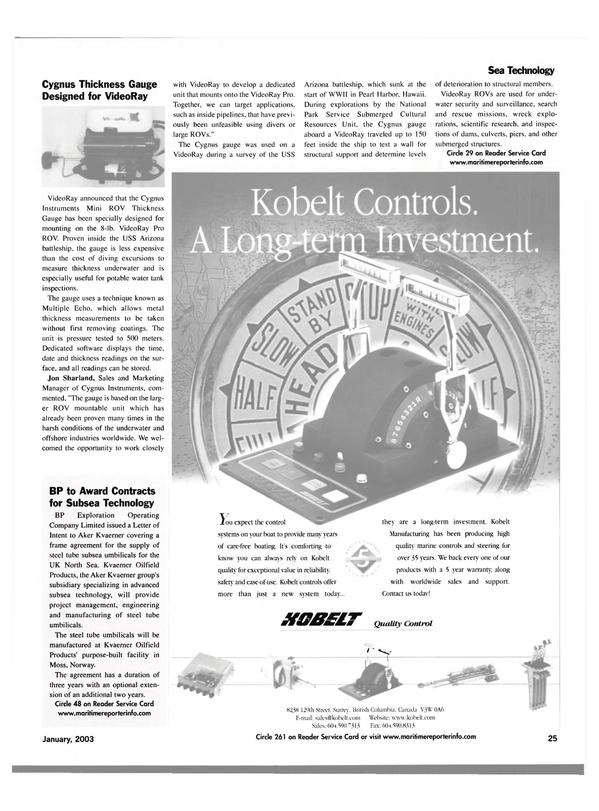 Maritime Reporter Magazine, page 25,  Jan 2003 British Columbia