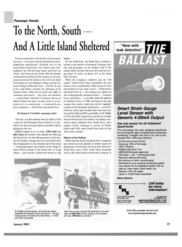 Maritime Reporter Magazine, page 27,  Jan 2003
