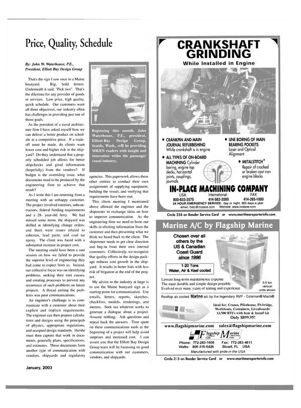 Maritime Reporter Magazine, page 35,  Jan 2003 cast iron engine