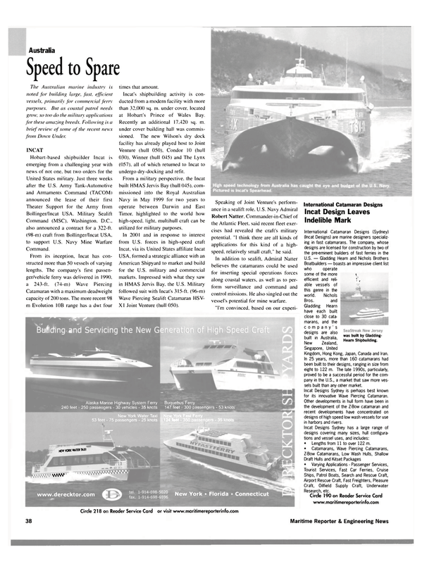 Maritime Reporter Magazine, page 38,  Jan 2003 New York