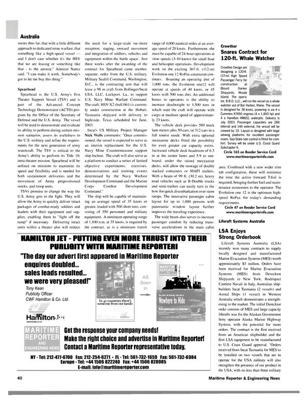 Maritime Reporter Magazine, page 40,  Jan 2003