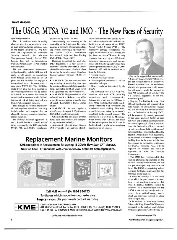 Maritime Reporter Magazine, page 8,  Feb 2003