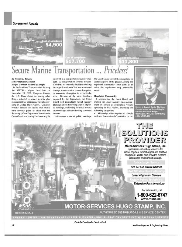 Maritime Reporter Magazine, page 12,  Feb 2003 Service Center