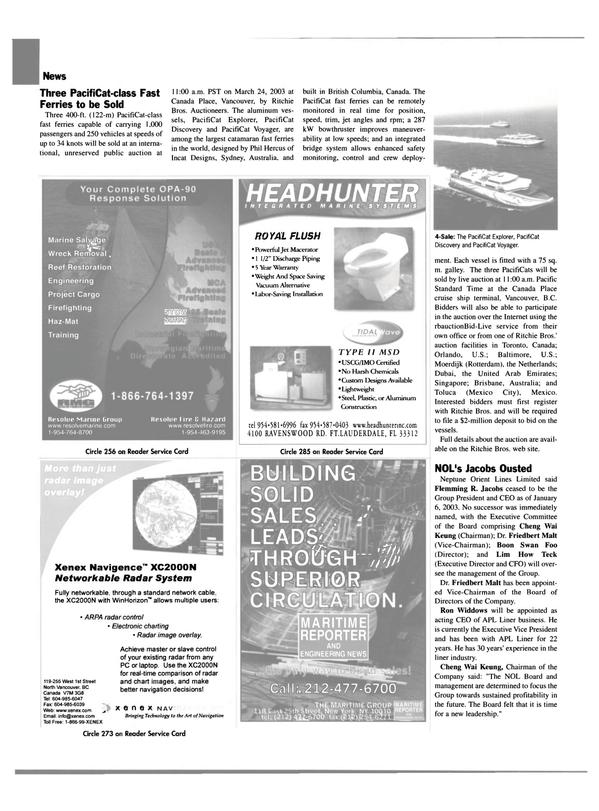 Maritime Reporter Magazine, page 18,  Feb 2003