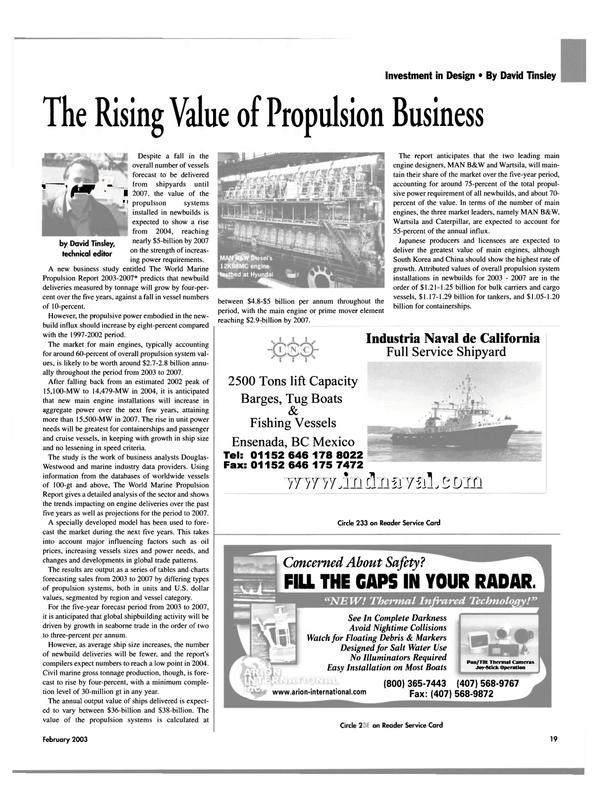 Maritime Reporter Magazine, page 19,  Feb 2003