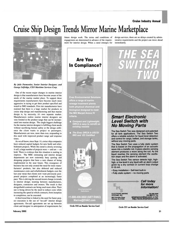 Maritime Reporter Magazine, page 31,  Feb 2003 Julie Parmentier