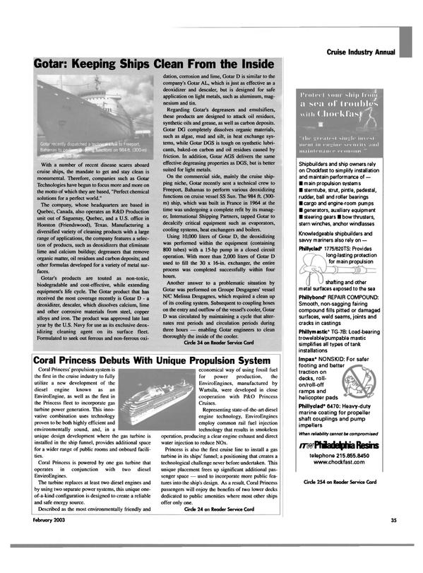 Maritime Reporter Magazine, page 35,  Feb 2003