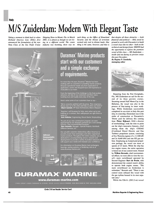 Maritime Reporter Magazine, page 40,  Feb 2003 Bob Pelletier