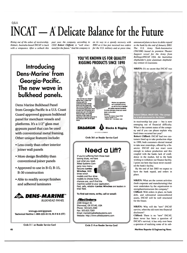 Maritime Reporter Magazine, page 46,  Feb 2003