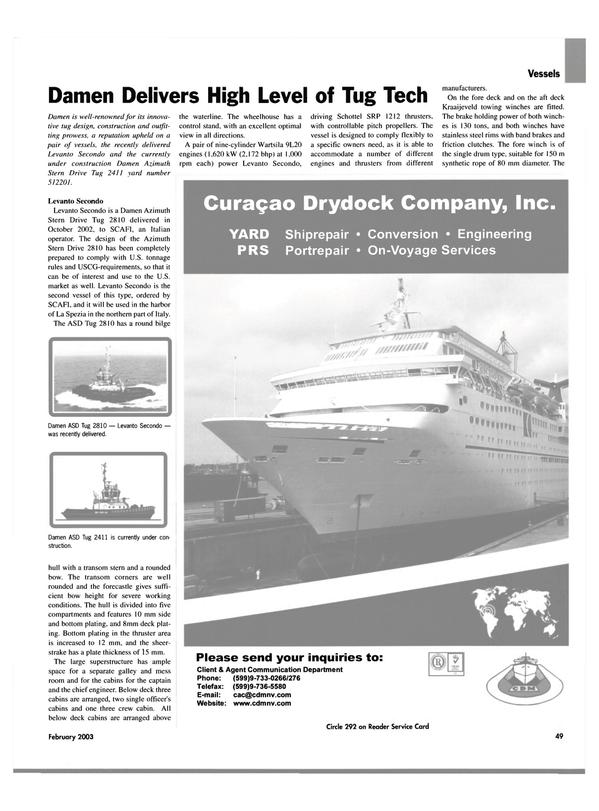 Maritime Reporter Magazine, page 49,  Feb 2003 harbor of La Spezia