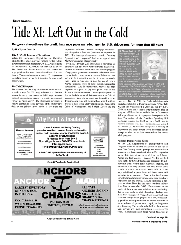 Maritime Reporter Magazine, page 8,  Mar 2003
