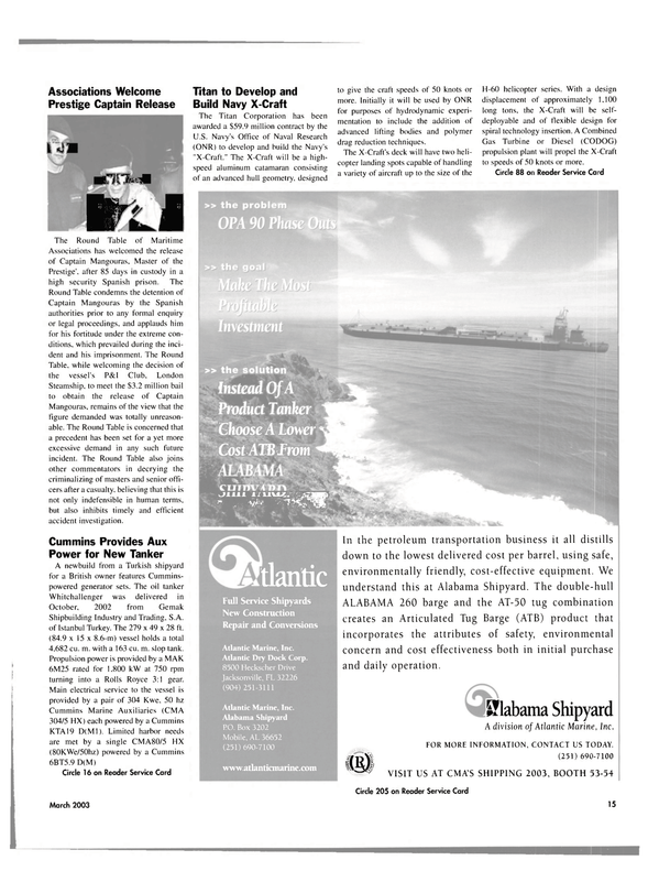 Maritime Reporter Magazine, page 15,  Mar 2003