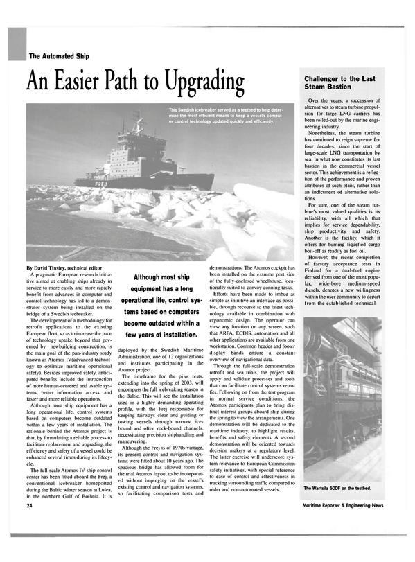 Maritime Reporter Magazine, page 24,  Mar 2003 David Tinsley