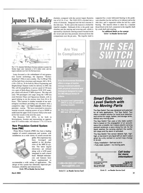 Maritime Reporter Magazine, page 31,  Mar 2003