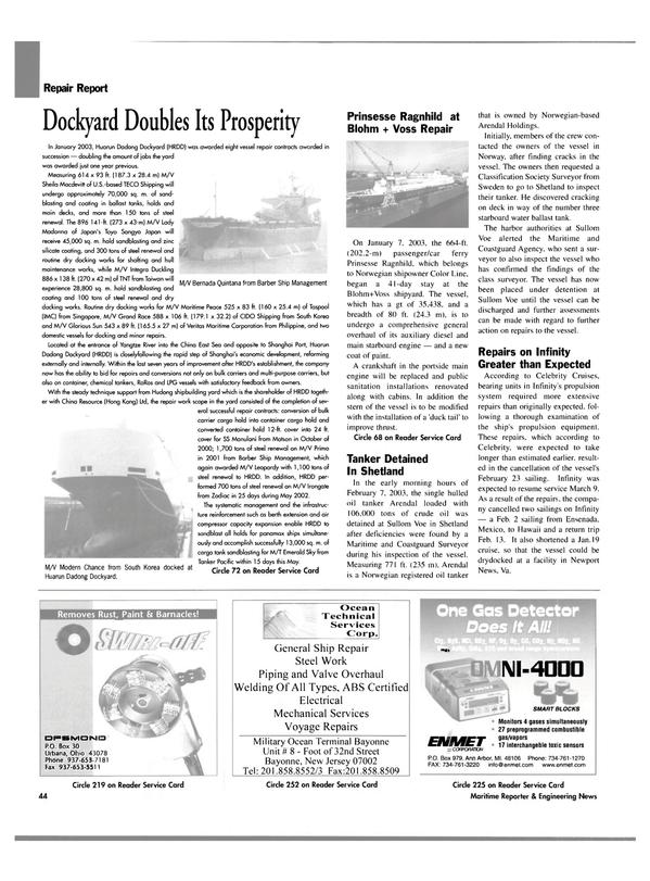 Maritime Reporter Magazine, page 44,  Mar 2003