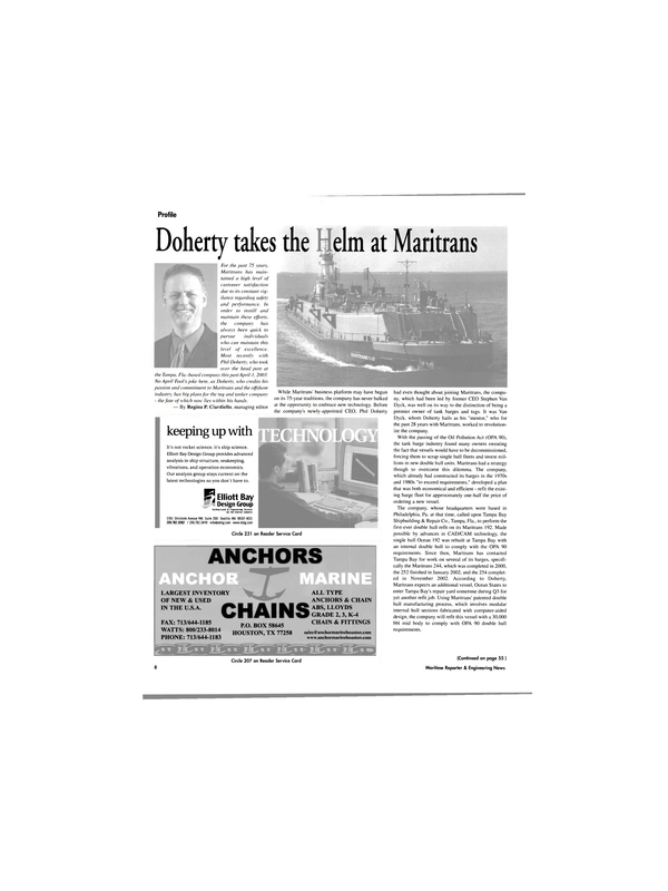 Maritime Reporter Magazine, page 8,  Apr 2003