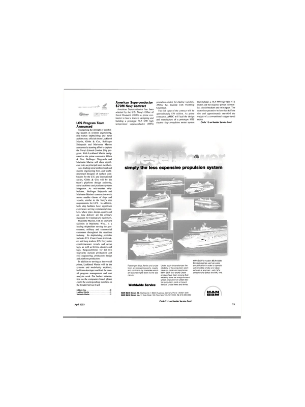 Maritime Reporter Magazine, page 23,  Apr 2003