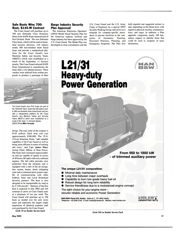 Maritime Reporter Magazine, page 17,  May 2003