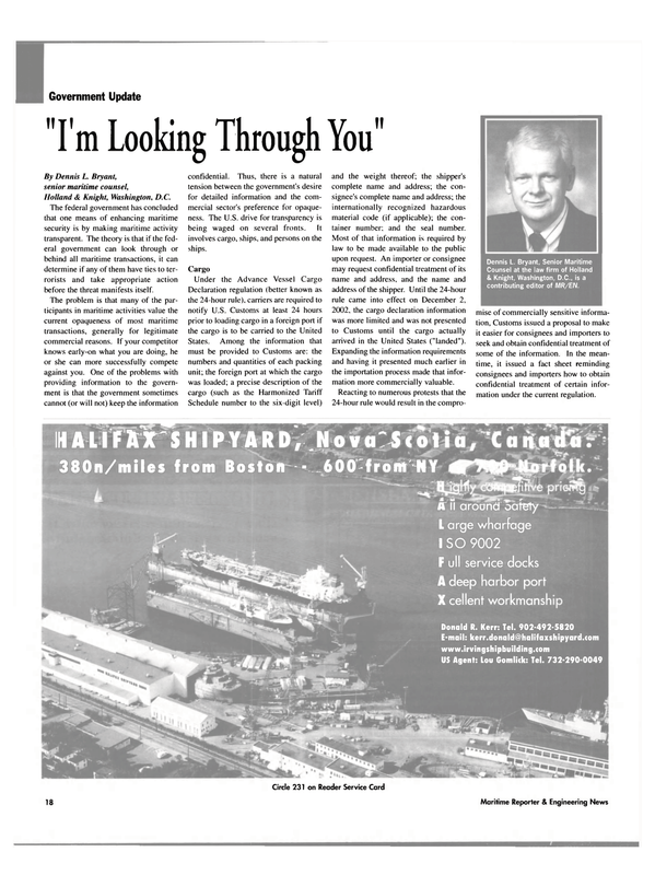 Maritime Reporter Magazine, page 18,  May 2003
