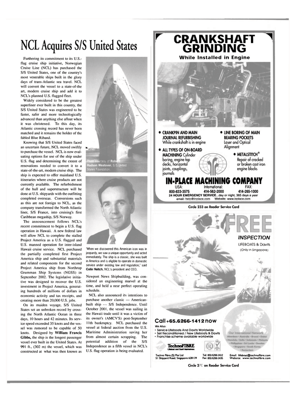 Maritime Reporter Magazine, page 23,  May 2003