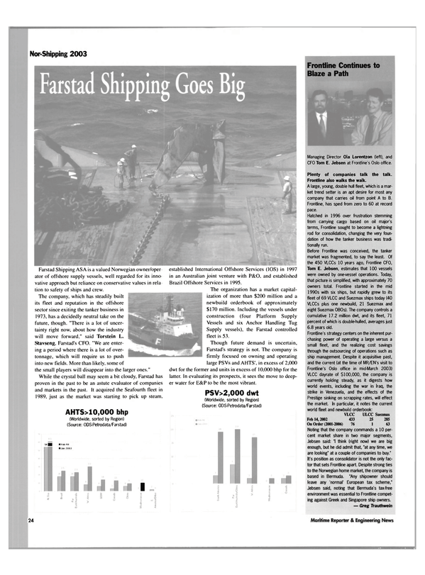 Maritime Reporter Magazine, page 24,  May 2003