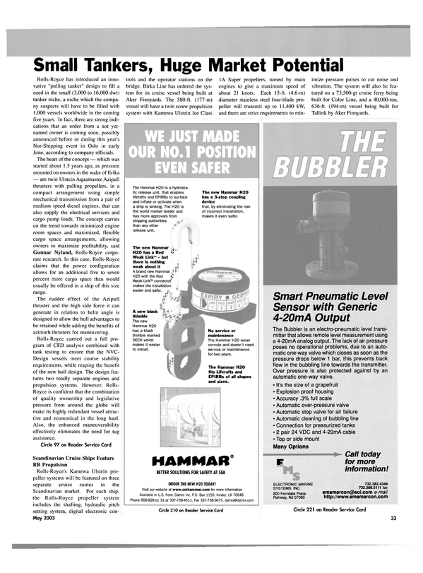Maritime Reporter Magazine, page 33,  May 2003