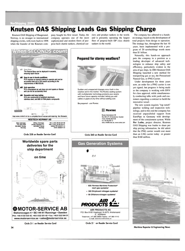 Maritime Reporter Magazine, page 34,  May 2003