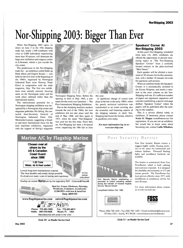 Maritime Reporter Magazine, page 37,  May 2003