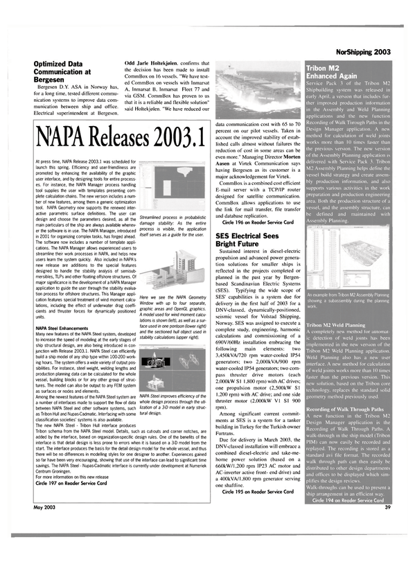 Maritime Reporter Magazine, page 39,  May 2003