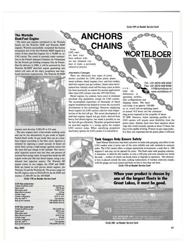 Maritime Reporter Magazine, page 41,  May 2003