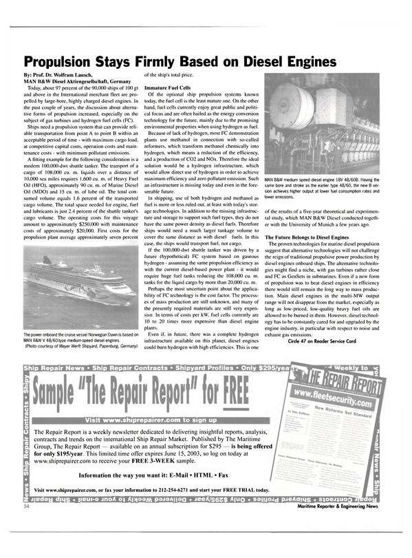 Maritime Reporter Magazine, page 54,  May 2003