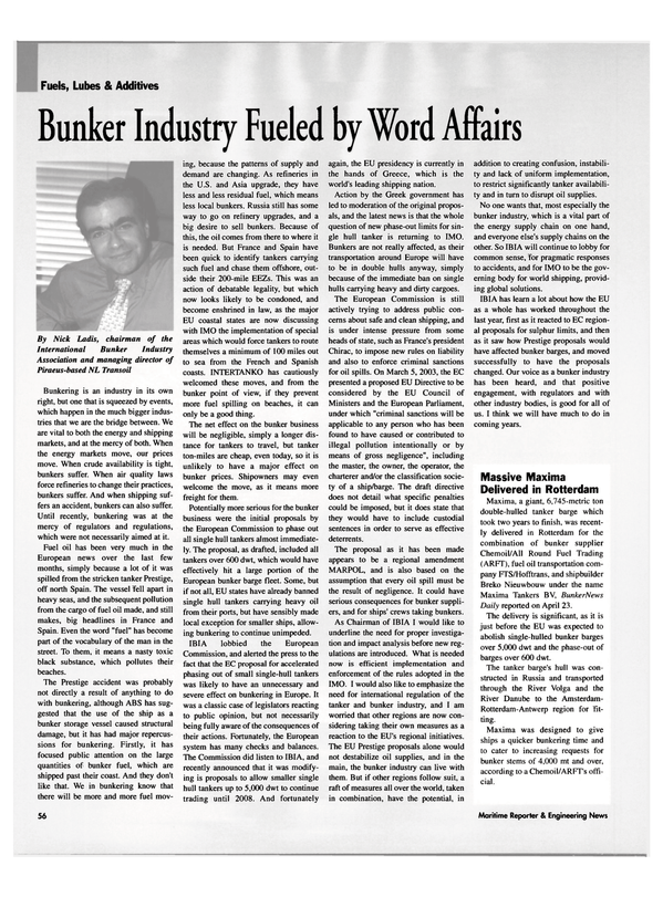 Maritime Reporter Magazine, page 56,  May 2003