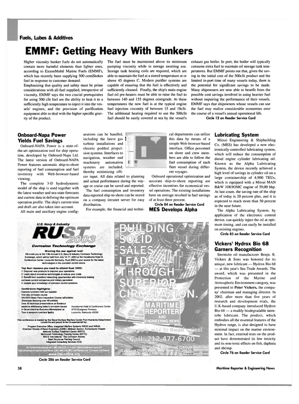 Maritime Reporter Magazine, page 58,  May 2003