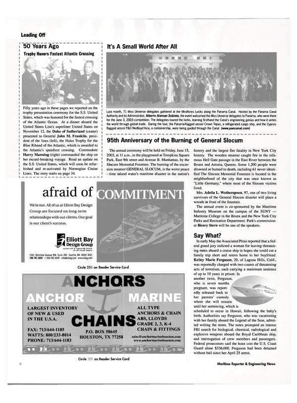 Maritime Reporter Magazine, page 8,  Jun 2003 Texas