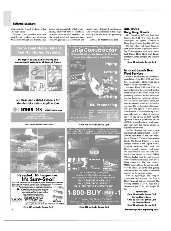 Maritime Reporter Magazine, page 16,  Jun 2003 Pennsylvania